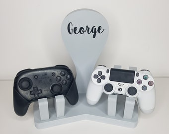Double Headset and Controller Holder Personalised Custom Playstation Xbox Switch Wooden Console Headphones