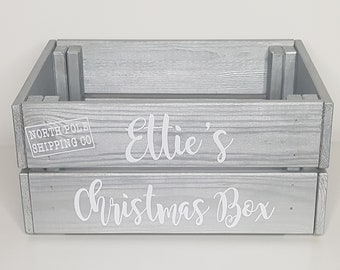 Christmas Eve Wooden Box Crate Personalised Baby Children Kids Custom Hand Crafted Stocking