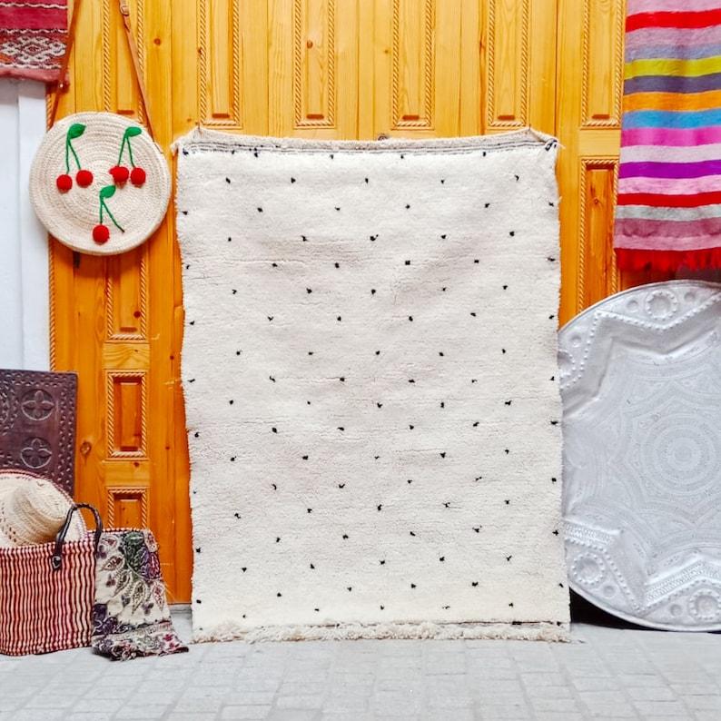 soft wool rug .area rug Beni ourain rug Moroccan Beni ourain rug Berber handmade wool Authentic Azilal Home decor.