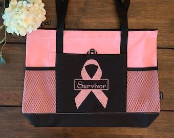 Zippered tote bag Embroidered Monogrammed Tote Bag Cancer Awareness tote bag Breast Cancer Survivor bag
