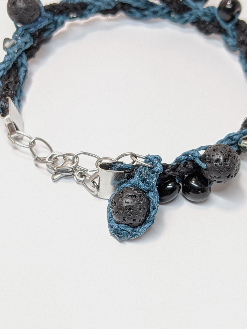 Eco-friendly Handmade Bracelet with Natural Fibers Stylish Lava Beads and Obsidian Braided Crochet Hemp Bracelet