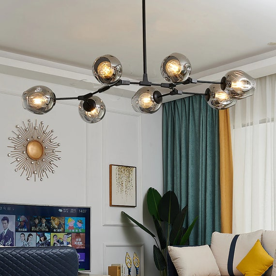 Creative Glass Branch Chandelier Classic Hanging Light Design Etsy