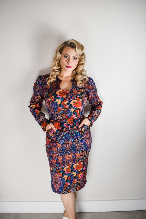 Vintage Floral Dress Button Up with Pockets