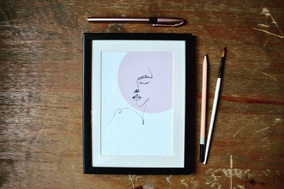 In Pink   Line drawing face Print   A4, A5, A6, Postcard   Hand drawn and Digital Art   Sustainable art.