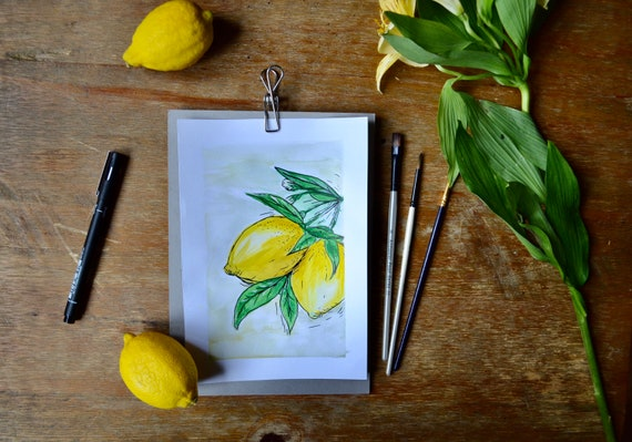 When life gives you lemons   Gouache printed on matte finish paper   Various sizes - A4, A5, C6, Postcards