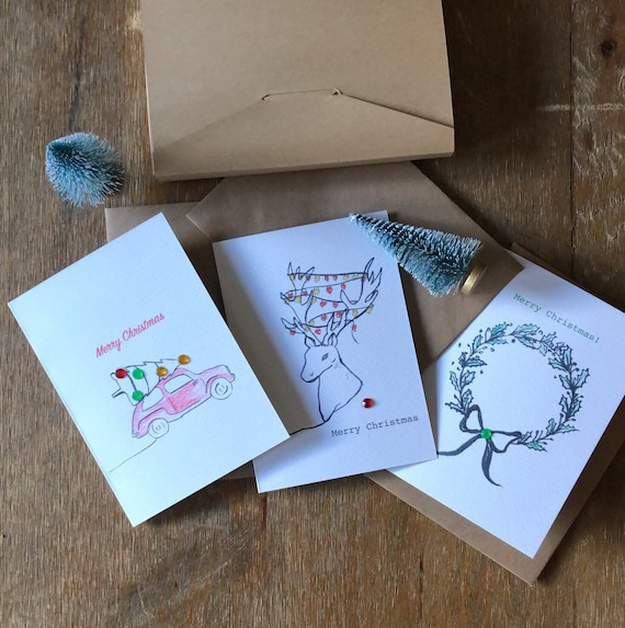 Pack of 3 or 6 Christmas Cards   A6 with Kraft envelope   100% recycled materials