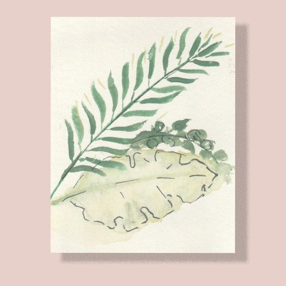 Tropical leaves Print   A4, A5, A6 sizes   Printed gouache original painting on heavyweight recycled paper