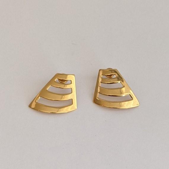 Vintage Monet Stud Earrings Geometric 80s Design … - image 2