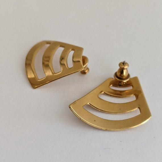 Vintage Monet Stud Earrings Geometric 80s Design … - image 4