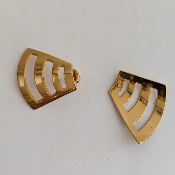 Vintage Monet Stud Earrings Geometric 80s Design … - image 3