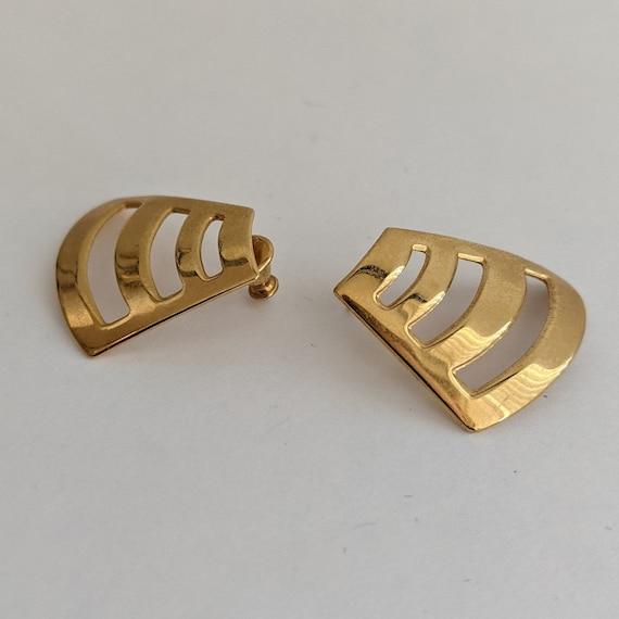 Vintage Monet Stud Earrings Geometric 80s Design … - image 5