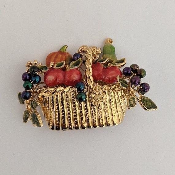 Black Cord Oval Fruit Basket Brooch Vintage