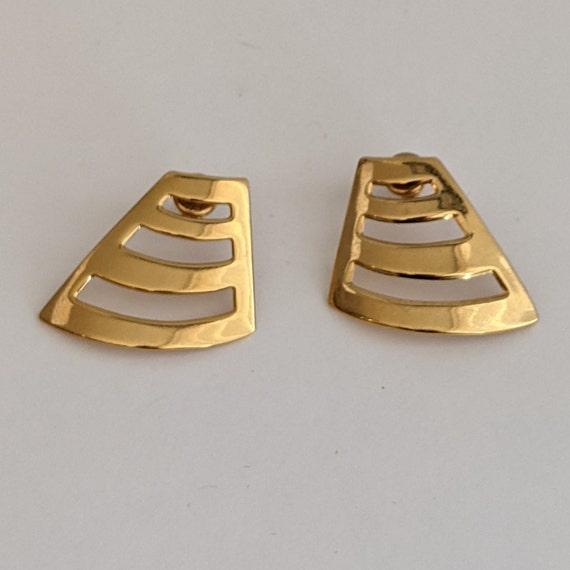 Vintage Monet Stud Earrings Geometric 80s Design … - image 1