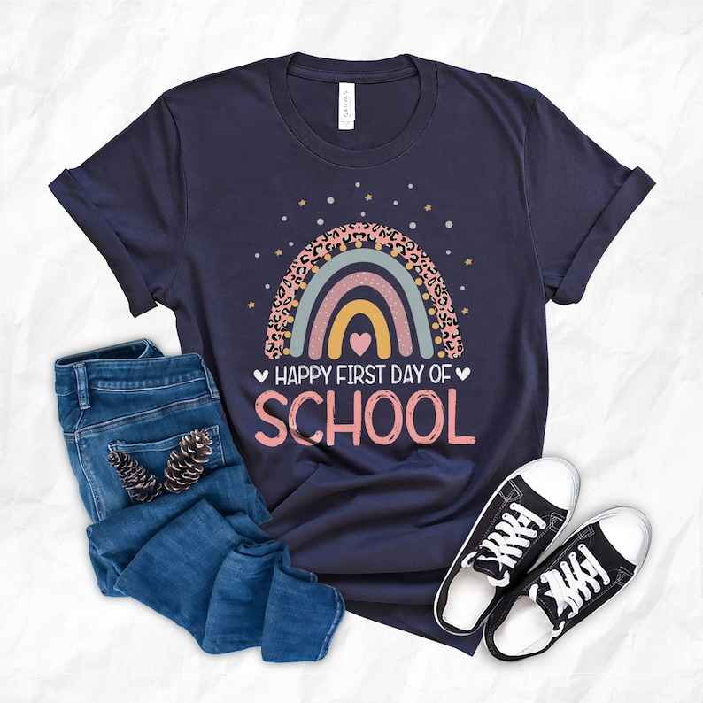 Rainbow Happy First Day Of School Teacher Student Back to image 0
