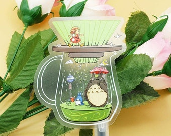 Green Spring Origami Coffee Vinyl Sticker (Transparent)