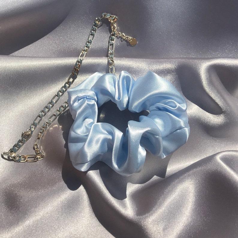 Baby Blue Silk Satin Scrunchie