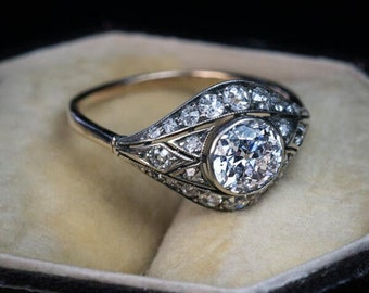 An Antique  1.25 Ct White Round Cut Diamond Engagement & Wedding Ring in 925 sterling silver/10K Gold ,Art deco Vintage Ring-Gift For Her