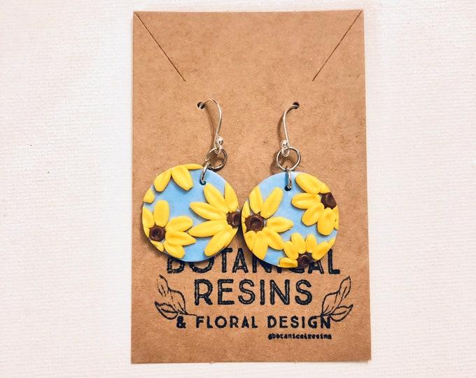Clay Sunflower Earrings polymer sunflower drop earrings botanicalfloral clay jewellery