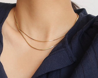 Cube Gold Chain Necklace•Snake chain necklace • Cube Necklace Chain in Gold • Layering Necklace •Gift for Her • Basic chain necklace