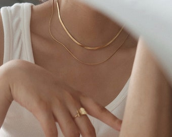 Snake necklace layer necklace gold necklace choker necklace chain necklace herringbone chain flat snake non tarnish Gold Chain Necklace Sets