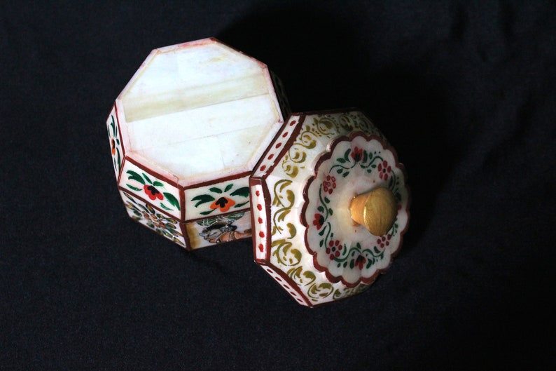 Indian Handmade Bone /& Wooden decorative Jewelry Box Hand painted King and Queen Design Jewel Organizer Box