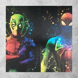 Disney,Spray,Gift,birthday sword,love Christmas MARVEL SPIDERMAN /& IRONMAN A4,A5 Prints red,black,white,multicoloured,spiders,Hero fans