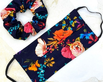 Face Mask / Covering in Floral Fabric, Washable, Reusable, Matching Scrunchies available, 100% cotton, 2 layers, filter pocket