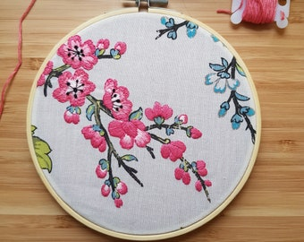 Never Let Me Go - Embroidery Hoop with Cherry Blossoms