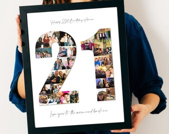 21st Birthday Photo Collage - 21st Birthday Gift - 21st Personalised Present - 21st Personalised Picture - 21st Custom Gift