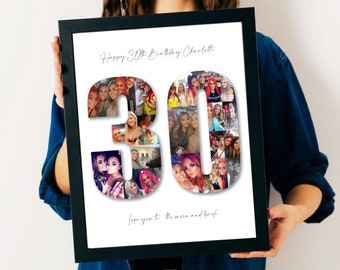 30th Birthday Photo Collage - 30th Birthday Gift - 30th Personalised Present - 30th Personalised Picture - 30th Custom Gift