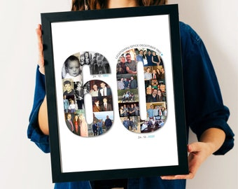 60th Birthday Photo Collage - 60th Birthday Gift - 60th Personalised Present - 60th Personalised Picture - 60th Custom Gift