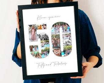 50th Birthday Photo Collage - 50th Birthday Gift - 50th Personalised Present - 50th Personalised Picture - 50th Custom Gift