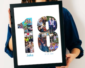 18th Birthday Photo Collage - 18tht Birthday Gift - 18th Personalised Present - 18th Personalised Picture - 18th Custom Gift