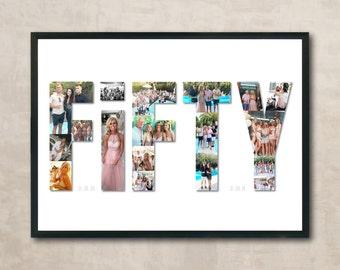 Birthday Milestone Age Photo Collage Print / Eighteen - Twenty one - Thirty - Forty - Fifty - Sixty - Seventy - Eighty - Ninety - Hundred