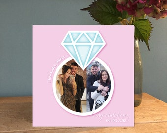 Engagement Handmade Personalised Card / Photo Collage / Cards for Her / Cards for Him / Congratulations