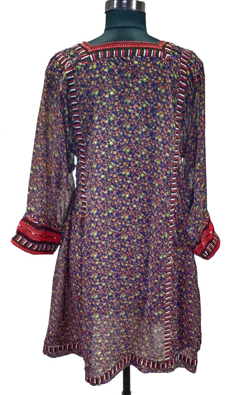 Indian Hand Embroidered Open Baluchi Dress Handmade Bohemian Rajasthani Dress Vintage Girl/'s Tunic Indian Banjara Women/'s Boho Top