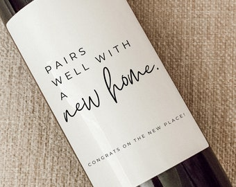Housewarming Gift | New Place | Housewarming Wine Label | Gift for Her, Him | New Home Owner Gift | Realtor Gift to Clients