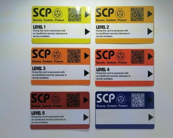 SCP Foundation Keycards 6 pcs PLASTIC CARD electronic pass cosplay