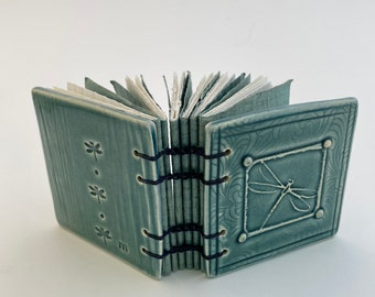 Blue Dragonfly Ceramic Hand Bound Journal From The Stone Diary Collection