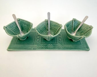 Three Mini Folded Bowls On A Tray With Stainless Steel spoons