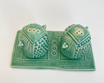 Handmade Pottery Salt & Pepper Shakers With Tray