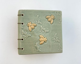 Buzzing Bees Ceramic Hand Bound Journal From The Stone Diary Collection