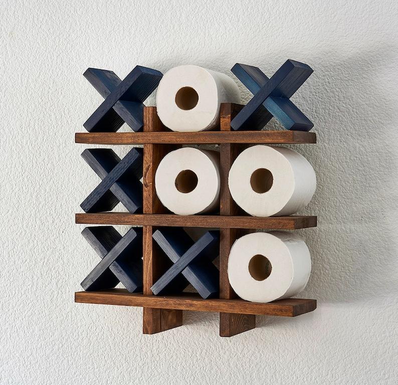 Bath Roll Holder  Tic Tac Toe  Blue Pine  Toilet Paper image 0