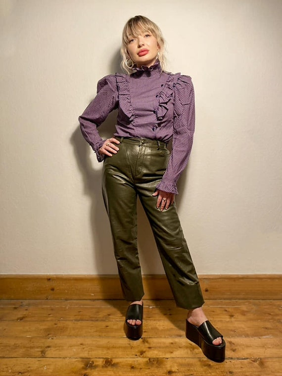 Vintage Olive Green Leather Trousers