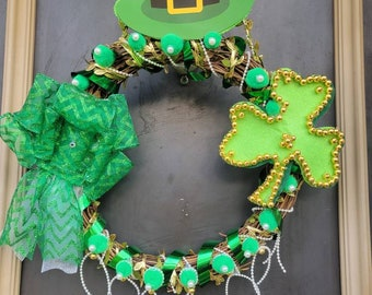 ST. Patrick's Day/March Grapevine Wreath! Wired Ribbon, Shamrocks, Leprechaun Hats, Pearls and Beads. One Wreath Available!