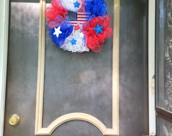4th of July Deco-Mesh Wreath! 1 Wreath Available.