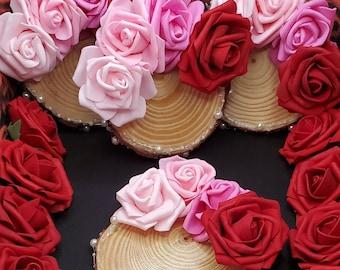 Handmade Wooden Valentine's Day / February Coasters w/ Artificial Pearl and Artificial Roses. One set of 4 Available.