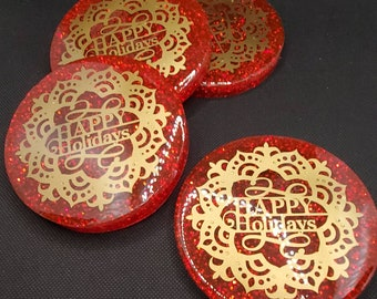 Holiday Series: Happy Holidays! 1 set of 4 Circular Resin Coasters w/Red Alcohol Ink, Red Glitter, and Matte Gold Adhesive Vinyl