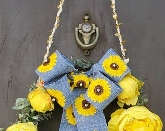 Sunflower Ribbon Spring/Summer Grapevine Wreath! Artificial Greenery Wreath w/Artificial Flowers and Pearls - 1 available.