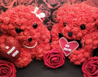 Valentine's Day Styrofoam Bear w/Artificial Roses (1 male, 1 female). Two available total.